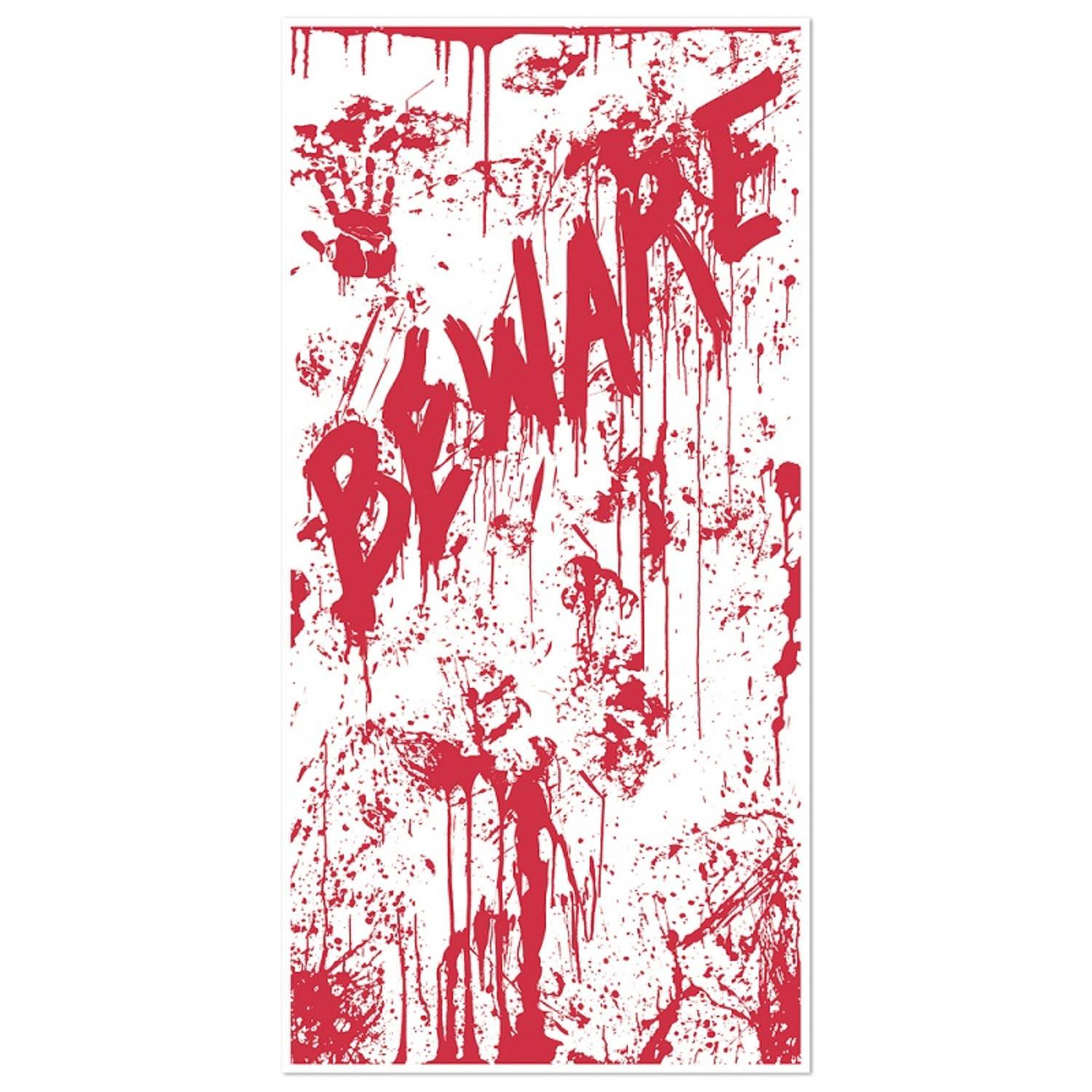 "Club Pack of 12 Halloween Themed Bloody ""BEWARE"" Door Cover Party Decorations 5'"