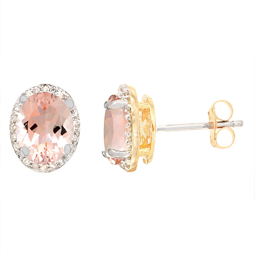 10K Yellow Gold Diamond Natural Morganite Earrings Oval 7x5 mm