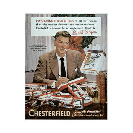 Chesterfield Cigarettes - Chesterfield Cigarette Advertisement Featuring Ronald Reagan Print Wall Art