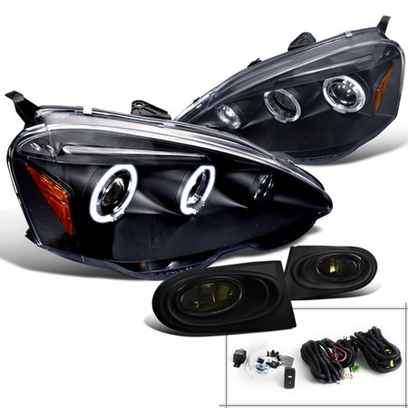 Spec-D Tuning For 2002-2004 Acura Rsx Black Dual Halo Led Projector Headlights + Smoke Fog Lights (Left+Right) 2002 2003 (Acura Rsx Tuning)
