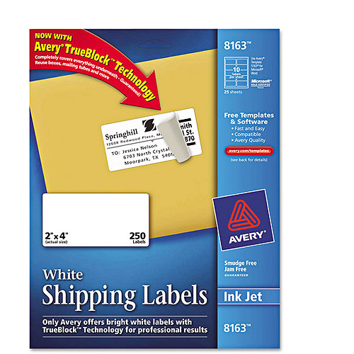 "Avery 8163 White Shipping Labels for Inkjet Printers, 2"" x 4"", 250 Labels/Pack"