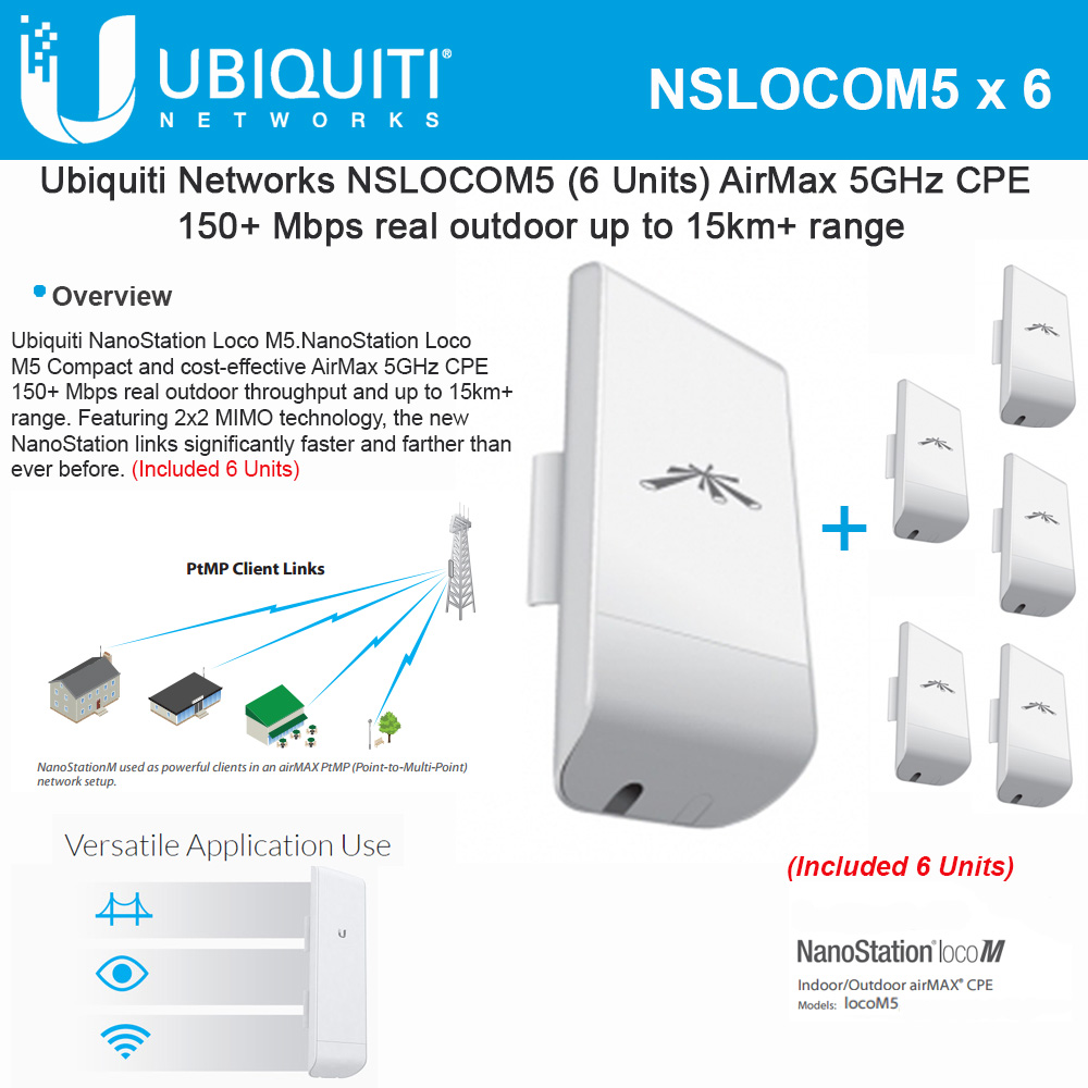 Ubiquiti LocoM5 6 units Nanostation Loco M5 5GHz Indoor Outdoor CPE 150+Mbps