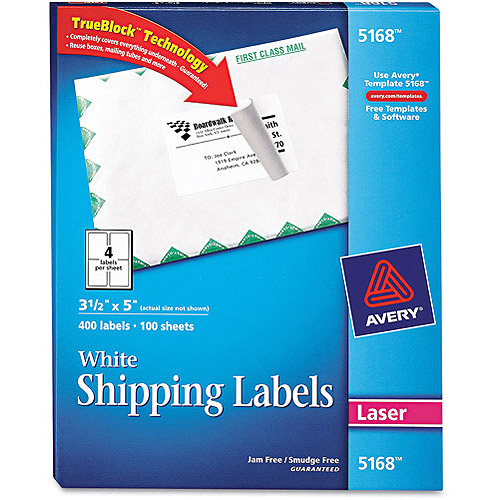 "Avery 5168 White Shipping Labels for Laser Printers, 3-1/2"" x 5"", 400 Labels/Pack"