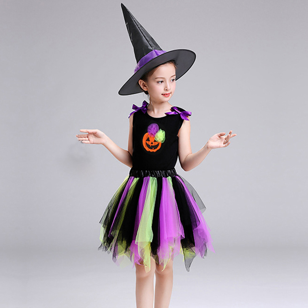 Womail Toddler Kid Baby Girl Halloween Skirt Tops Party Sets Hat Pumpkin Print Clothes