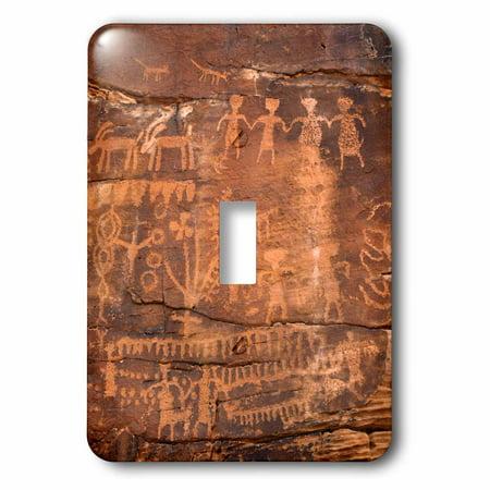 3dRose USA, Southwest, Indian Petroglyphs on Sandstone. - Single Toggle Switch