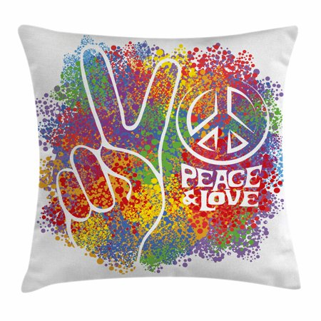 70s Party Decorations Throw Pillow Cushion Cover, Hippie Peace and Love Symbol and Signs Two Fingers Antiwar Colorful, Decorative Square Accent Pillow Case, 18 X 18 Inches, Multicolor, by - Peace And Love Hippie