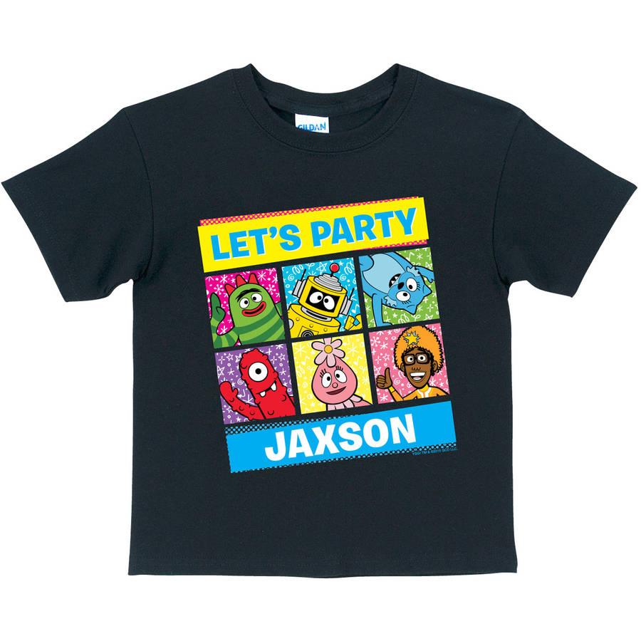 Personalized Yo Gabba Gabba Let's Party Kids' T-Shirt, Black
