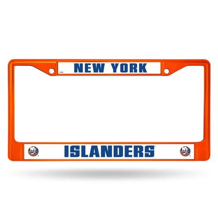 New York Islanders License Plate (New York Islanders NHL Licensed Orange Painted Chrome Metal License Plate)