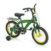 "John Deere 16"" Boys Bicycle, Kids Bike with Training Wheels and Front Hand Brake, Green"
