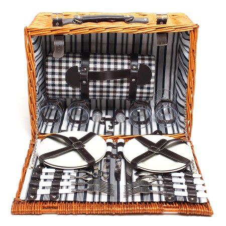 NEW 4 Person Picnic Basket Baskets Set Insulated Mat Blanket Park Strong Wicker Hiking Outdoor - image 1 of 5