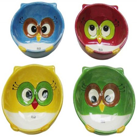 Cosmos Bowls - Cosmos Gifts 10914 Owl Bowls, 5 by 1-7/8 by 4-7/8-Inch, Set of 4