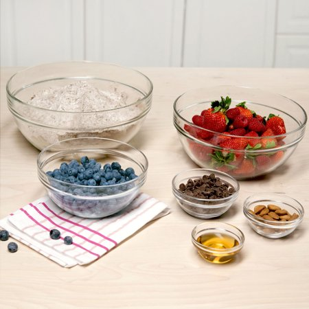 Tasty 6pc Stackable Glass Prep Bowl and Mixing Bowl - Mixing Glass Set