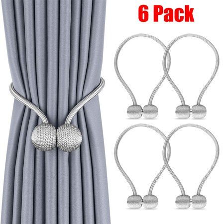 EEEkit 6 Pack European Style Magnetic Woven Texture Rope Curtain Tiebacks, The Most Convenient Drape Tie Backs,Decorative Weave Rope Holdback Holder for Window Sheer Blackout Drapries Office