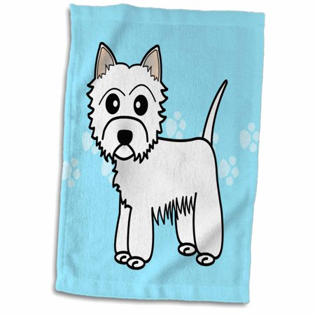 3dRose Cute Cartoon West Highland Terrier - Westie Dog on Blue Paw Prints - Towel, 15 by 22-inch Dog Blue Paw Prints