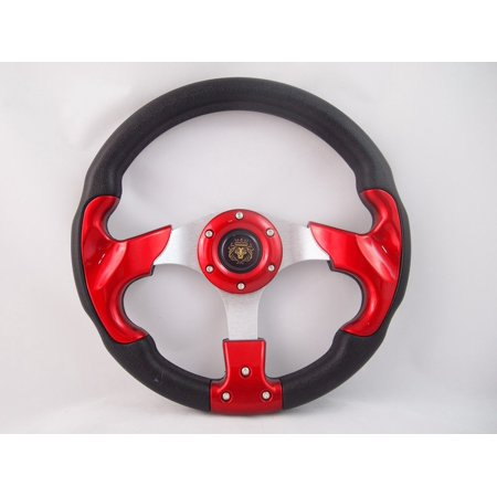 12.5 RED Steering Wheel W Adapter Ez-go POLARIS Ranger Club car Harley Kubota