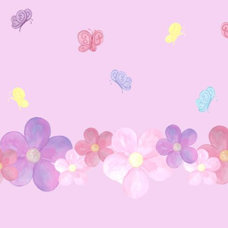 Girls Wall Decals - Pastel Flower & Butterfly Wall Stickers (35) Girls Room Wall Decals