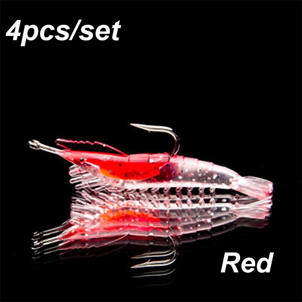 Portable Luminous Hook Worm Silicone Shrimp Fake Bait Prawn Lure Sea Fishing