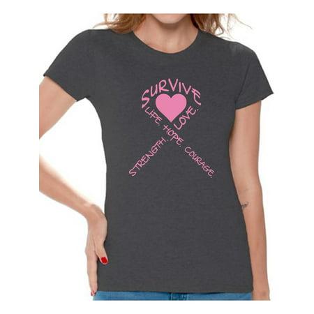Survive Heart T-shirt Tops Cancer t