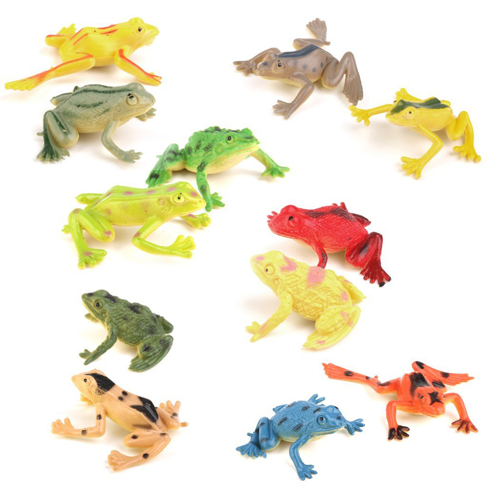 12pcs Model Plastic Frog Figures Kids Toy Set by
