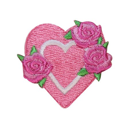 ID 3265B Heart With Flowers Patch Valentine Day Love Embroidered IronOn Applique - Embroidered Hearts