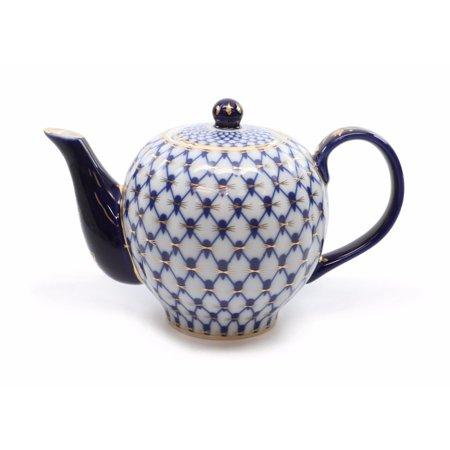 Royalty Porcelain Lomonosov Cobalt Blue Net Medium Teapot, Russian Pattern Lomonosov Blue Net