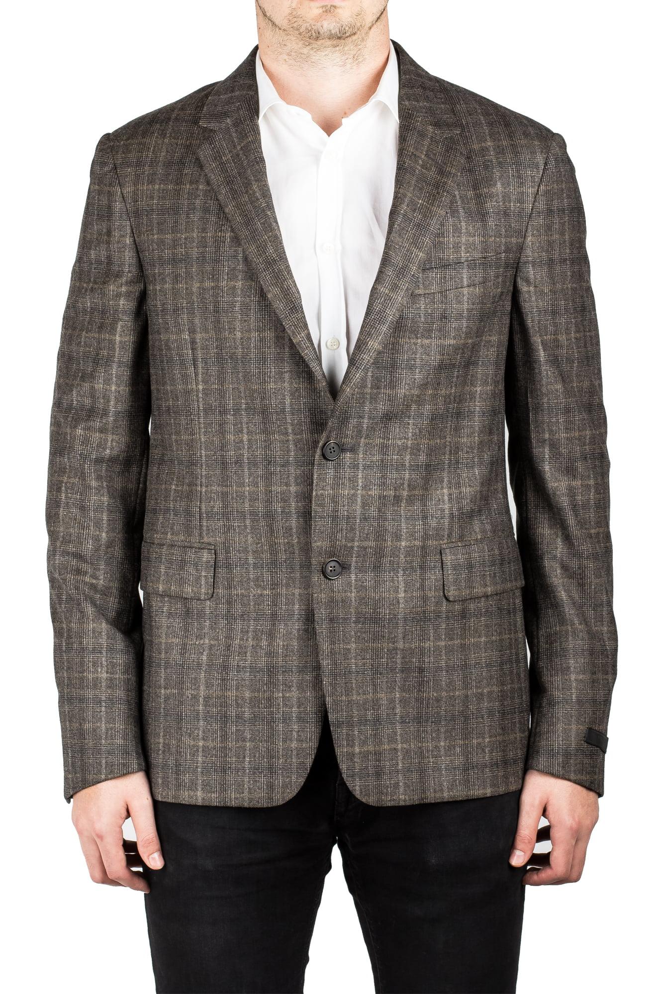 Prada Men's Virgin Wool Notched Lapel Sport Jacket Coat Blazer Plaid Bark Olive by Prada