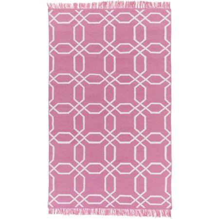 2.5' x 8' Octagon Pink and Ivory Reversible Shed-Free Area Throw Rug Runner