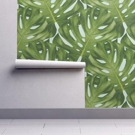 Removable Leaf - Removable Water-Activated Wallpaper Large Monstera Leaf Summer Botanical Home