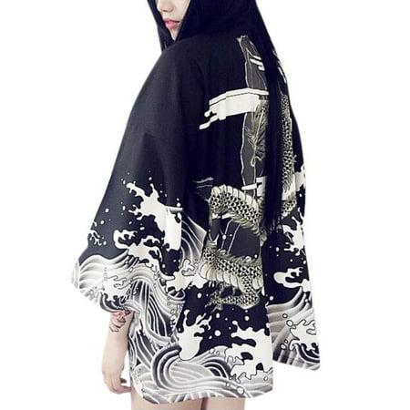 ZEDWELL Women Cardigan Dragon Waves Printed Chiffon Sun Protection Kimono Shirt Outerwear