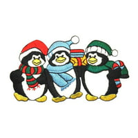 ID 8099 Penguin Carolers Patch Christmas Winter Embroidered Iron On Applique