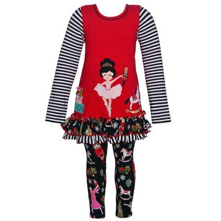 Bonnie Jean Little Girls Red Nutcracker Detail Ruffle 2 Pc Legging Set - Bonnie Jean Halloween 8