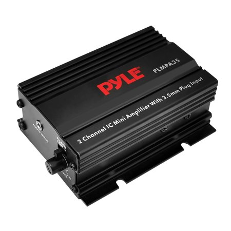 PYLE PLMPA35 - Dual Channel Mini Portable Stereo- Receiver Box - 300 Watt Rack Mount Audio Speaker Power Amplifier System w/ 3.5mm Input - Enjoy Amplified Sound for Your Home Entertainment