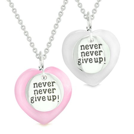 Amulets Never Give Up Love Couples or Best Friends Magic Hearts Pink White Simulated Cats Eye