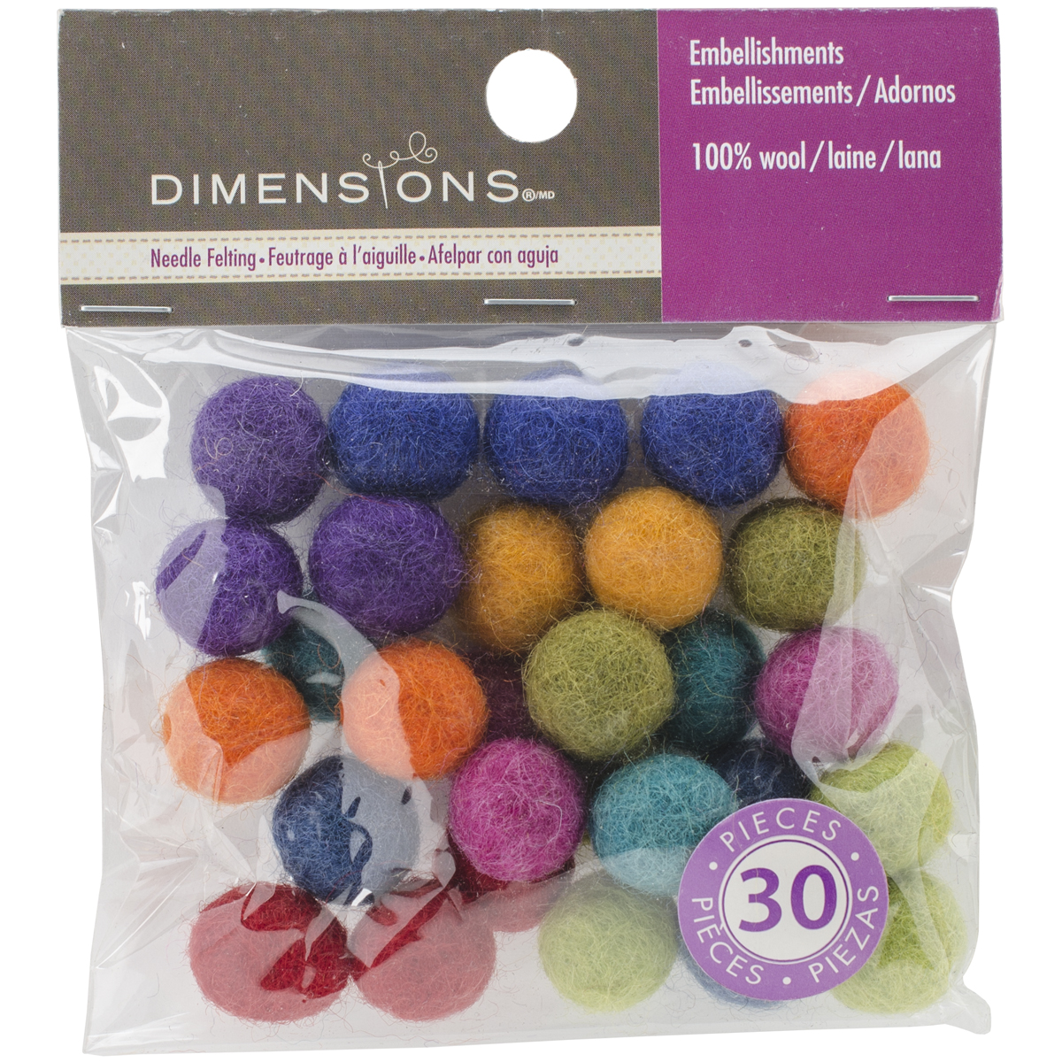 Feltworks Ball Assortment-30/Pkg
