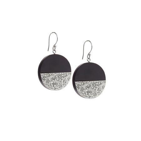 Black Wooden Earrings for Women Silver Metal Dangle Earrings Fashion Jewelry for Women