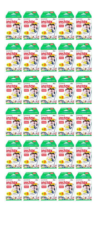 600 Prints FujiFilm instax Mini Instant Film for Fuji 25 50s 7s 8 9 70 90 (CASE) by Fujifilm