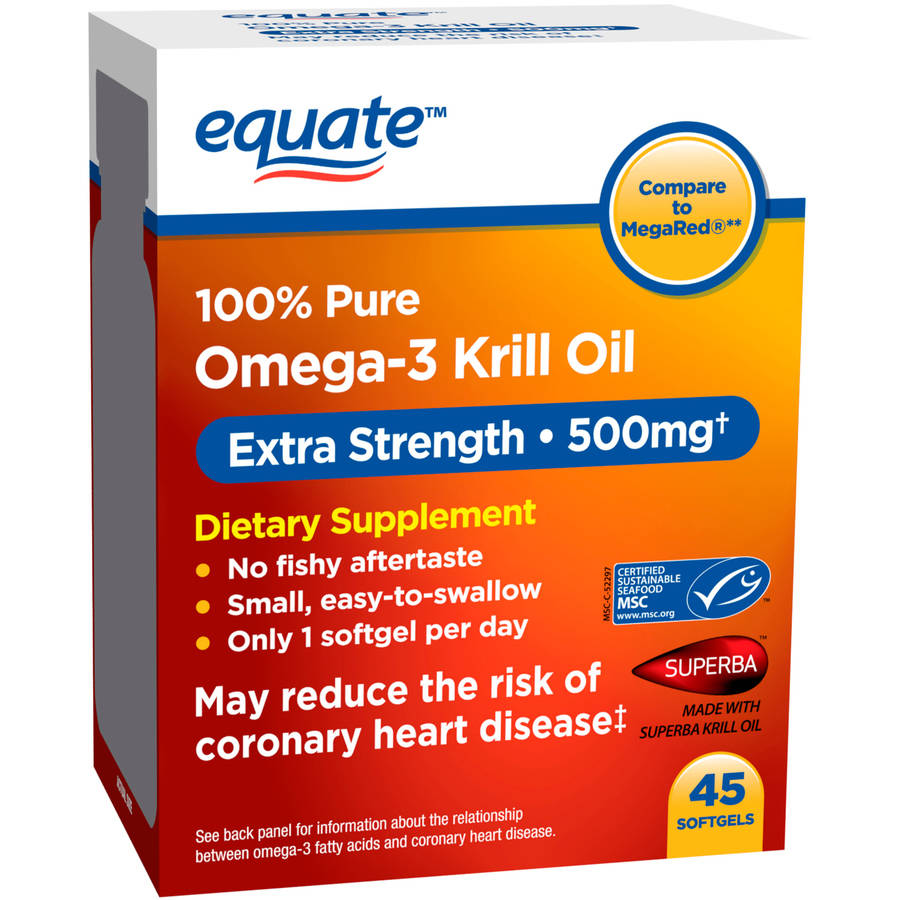 Equate Omega-3 Krill Oil Dietary Supplement Softgels, 500mg, 45 count