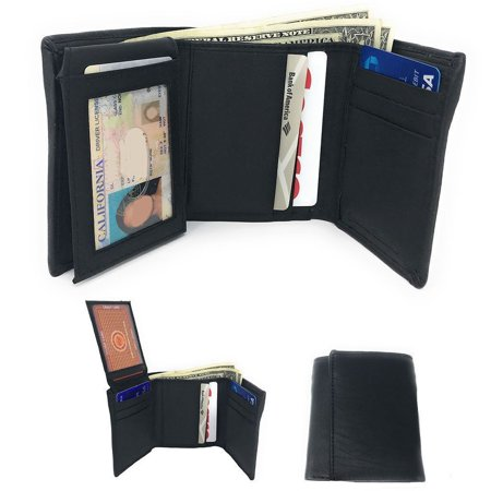 casaba casaba genuine leather trifold wallets easy flip up id card