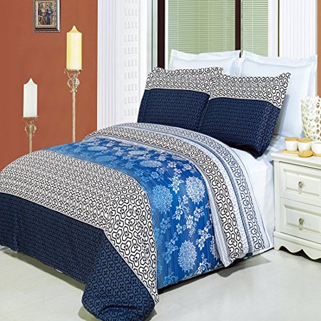 (Lydia Duvet Cover Set with Pillow Shams â Contemporary Print, 100% Combed Cotton- Durable Comforter Cover - 8 Piece, King)