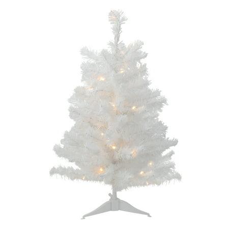3' B/O Pre-Lit LED White Pine Artificial Christmas Tree - Clear - 3' B/O Pre-Lit LED White Pine Artificial Christmas Tree - Clear
