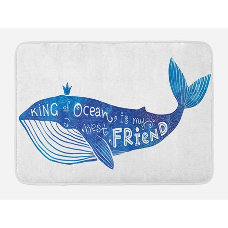 Whale Bath Mat, Kind of Ocean is My Best Friend Quote with Whale Fish Paintbrush Artsy Picture, Non-Slip Plush Mat Bathroom Kitchen Laundry Room Decor, 29.5 X 17.5 Inches, Violet Blue White,