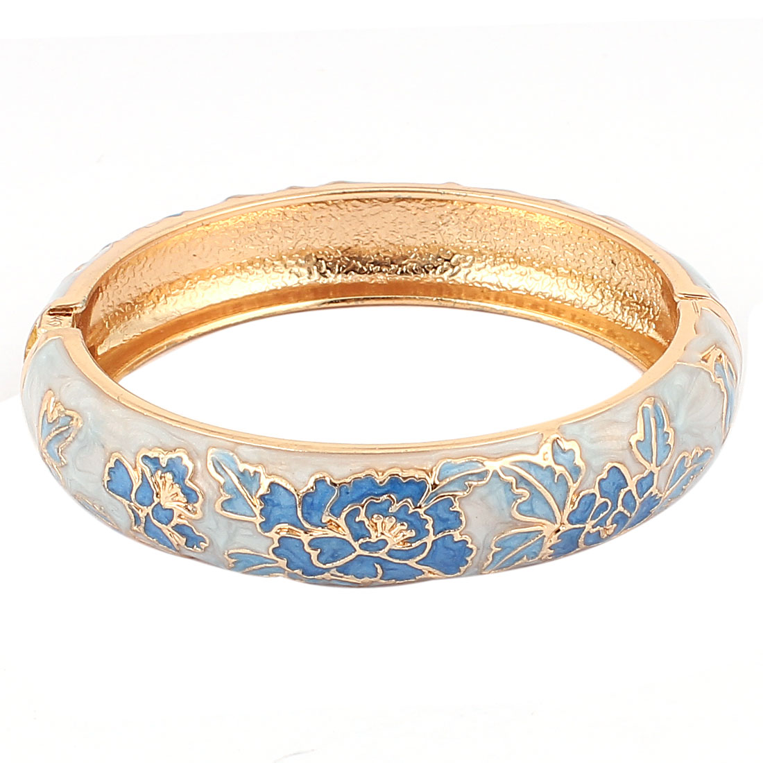Lady Floral Enamel Gold Plated Spring Open Bangle Bracelet Jewelry