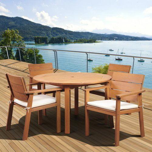 Amazonia Deerfield Eucalyptus Patio Dining Set - Seats 4
