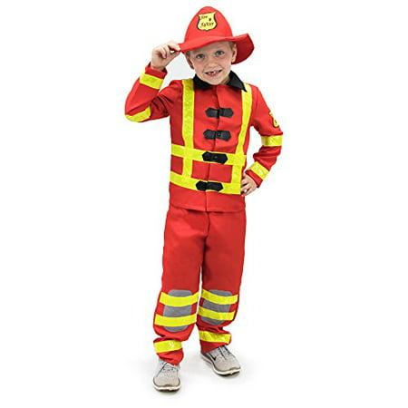 Boo! Inc. Flamin' Firefighter Children's Halloween Dress Up Roleplay - Costume With White Dress
