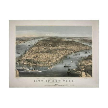 1856 NYC Map Print Wall Art By N.