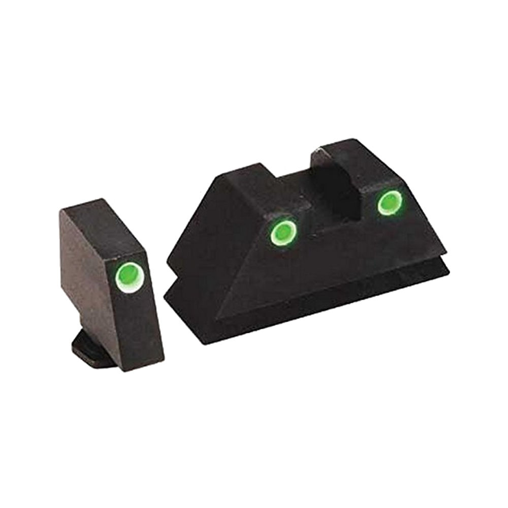 AmeriGlo Tall Suppressor Series, 3 Dot Sights for All Glocks, Green with White Outline, Front and Rear Sights by AMERIGLO