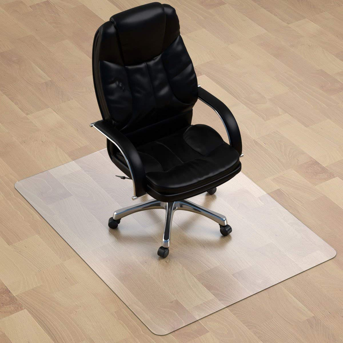 "E-joy Floor Chair Mat - 1/8"" Thick 47"" X 35"" Rectangular Heavy Duty Chair Mat for Hardwood Floor, BPA Free Anti Slip PVC Multi Purpose (Office, Home) Floor Protector"