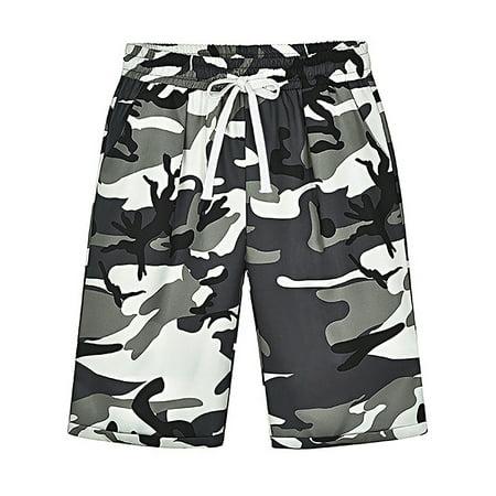 Red Camo Shorts (UKAP Women's Casual Shorts Elastic Waist Drawstring Camouflage Curling Bermuda Plus Size Pants with Pocket )