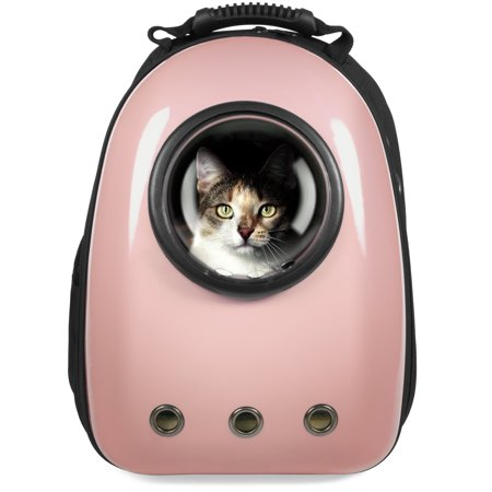 Best Choice Products Pet Carrier Space Capsule Backpack, Bubble Window Lightweight Padded Traveler for Cats, Dogs, Small Animals w/ Breathable Air Holes - Rose Gold - Animal Print Backpacks