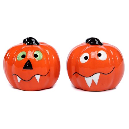 Count Jack Toothy Grins Halloween Pumpkins Salt and Pepper Shaker Set